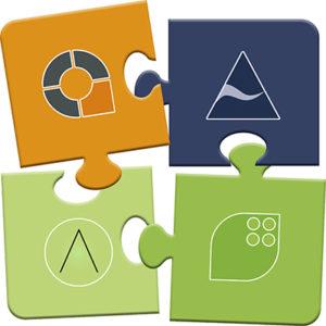 Puzzleteile die für die Unternehmensgruppe aus AUDIT GmbH, auditcert GmbH, AUDITcapital GmbH und ABICON GmbH stehen