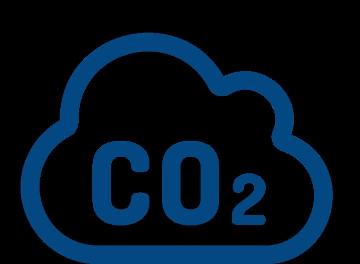Wolke mit dem Schriftzug CO2 als Symbol für eine mögliche CO2 Einsparung durch Wasserstoff unseren Potenzialanalysen